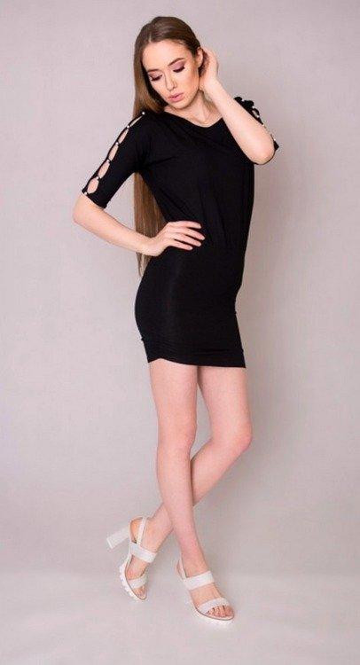 dad8e49912 105 Elegancka Sukienka z perełkami MIRACLE- czarna czarna